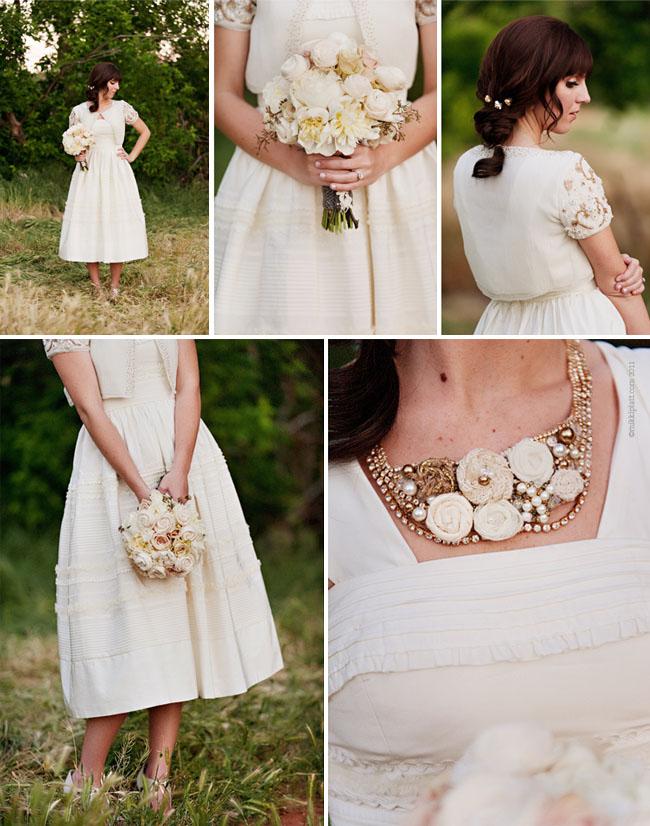 bride in bhldn with white bouquet