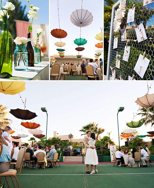 umbrellas hanging upside down wedding