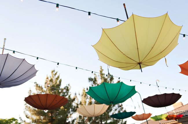 umbrellas hanging upside down