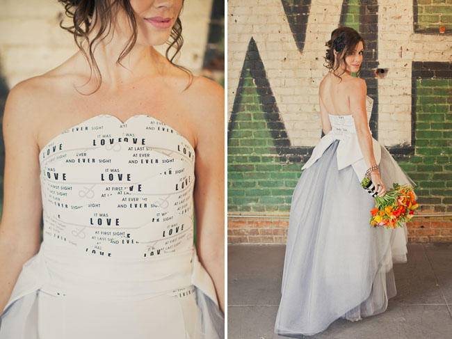 bride with paper wedding dress