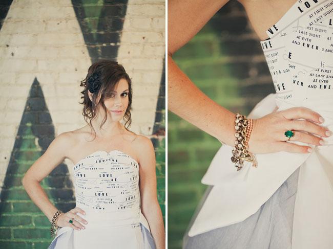 bride with paper wedding dress