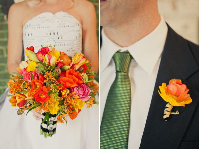 bride with orange bouquet