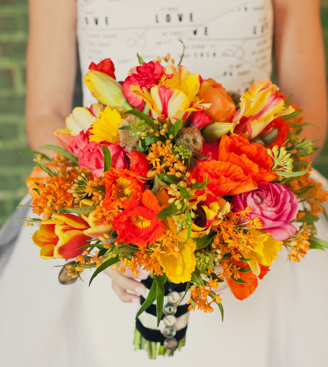 orange yellow tulip poppy bouquet