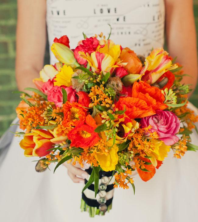 orange yellow tulip poppy bouquet
