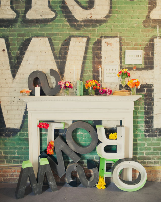 large letters wedding