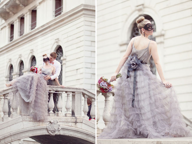 purple ruffled wedding dress