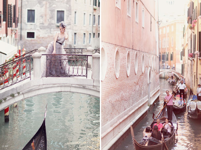 venice bridge, wedding dress