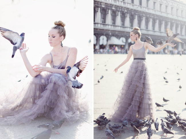 venice birds, purple ruffled dress
