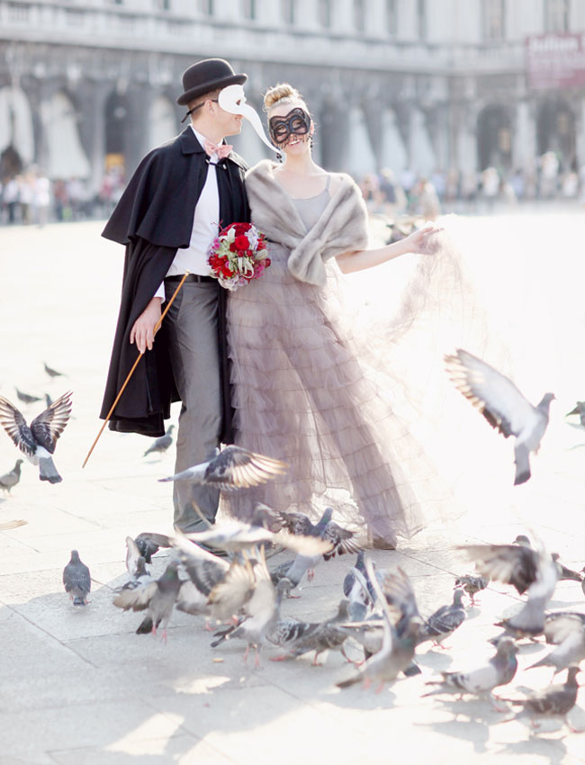 venice birds, purple ruffled dress