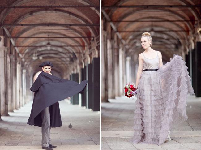 purple ruffled dress, black grooms cape