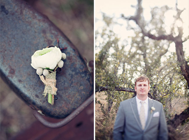 groom with modern boutonniere