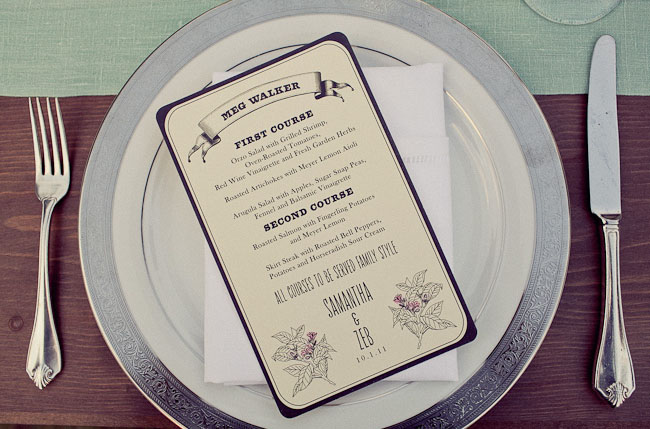 wedding menu on a plate