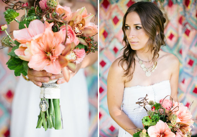 bride with pink lily bouquet
