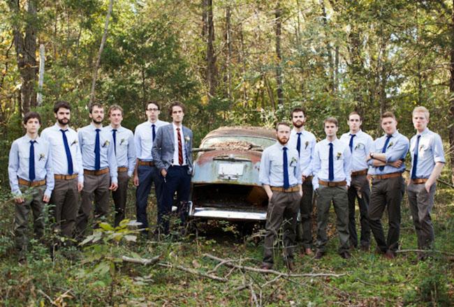 groomsmen in ties in woods