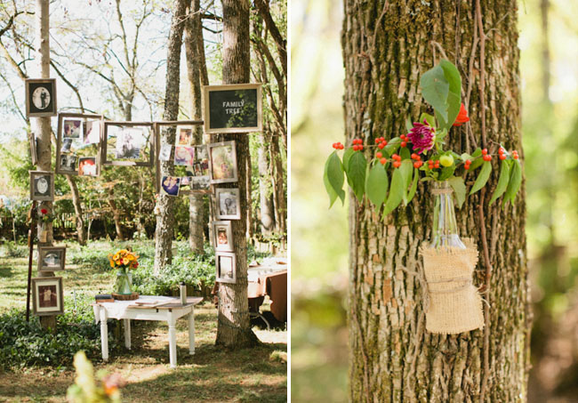 wedding decor in woods