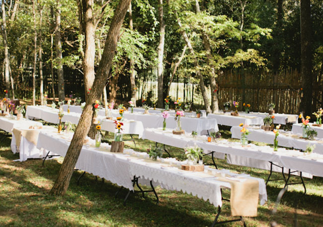 picnic tables in the woods