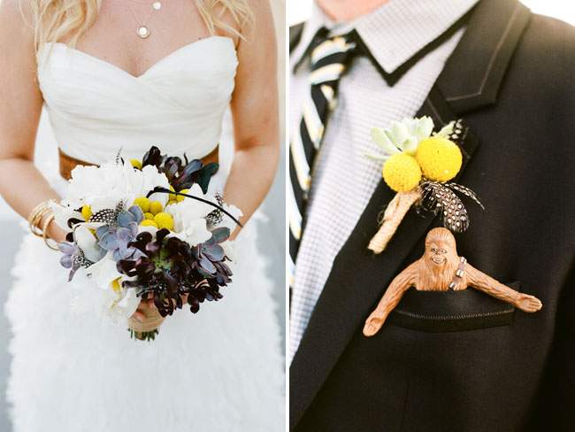 succulent and yellow bouquet, chewbaca pocket square