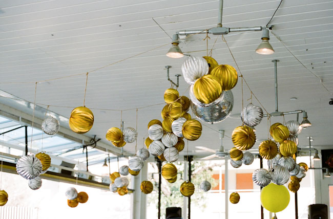 silver and gold hanging balls