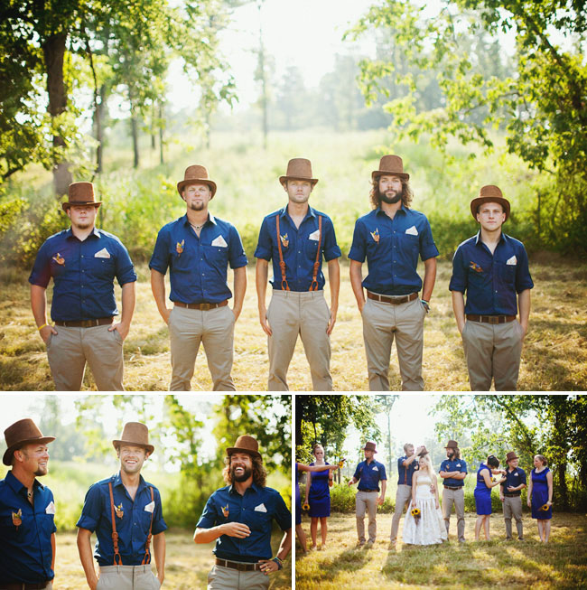 Grooms in Suspenders With Brown Top Hats - Green Wedding Shoes 3b1d440926e