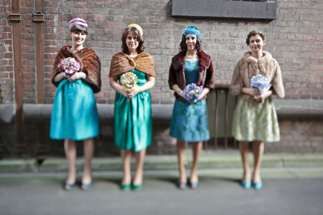 Bridesmaids in Hats and Fur Shrugs - Green Wedding Shoes 9eb9fe6efe4
