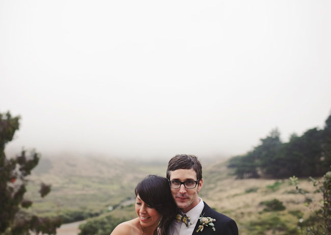 bride and groom, fog