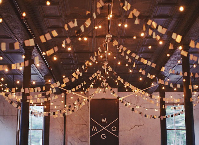 bunting and twinkle light decor