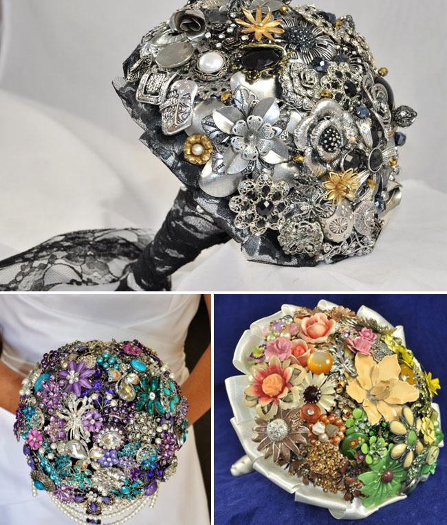blue-petyl brooch bouquet