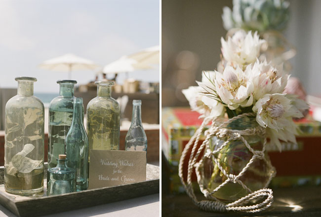 color bottles wedding decor