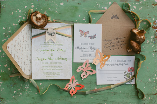 butterfly invitation suite