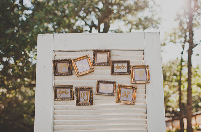 gold frame reception words