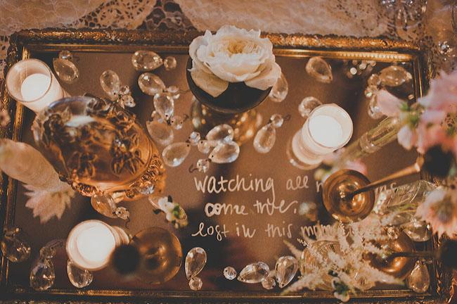 antique tea mirror table wedding
