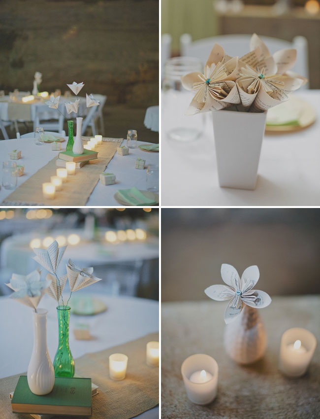 Book Page Paper Flower Centerpieces Green Wedding Shoes