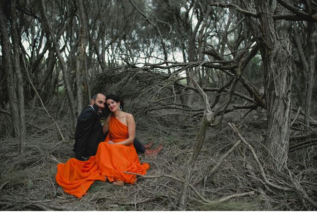 An Orange Wedding Dress: Kirsty + Matt