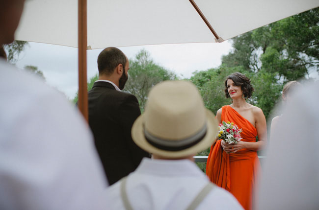 outdoor ceremony orange wedding dress