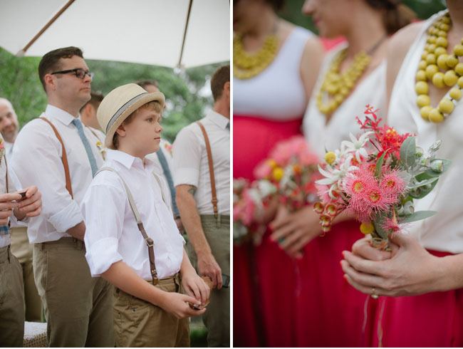 ring bearer in suspenders in hat