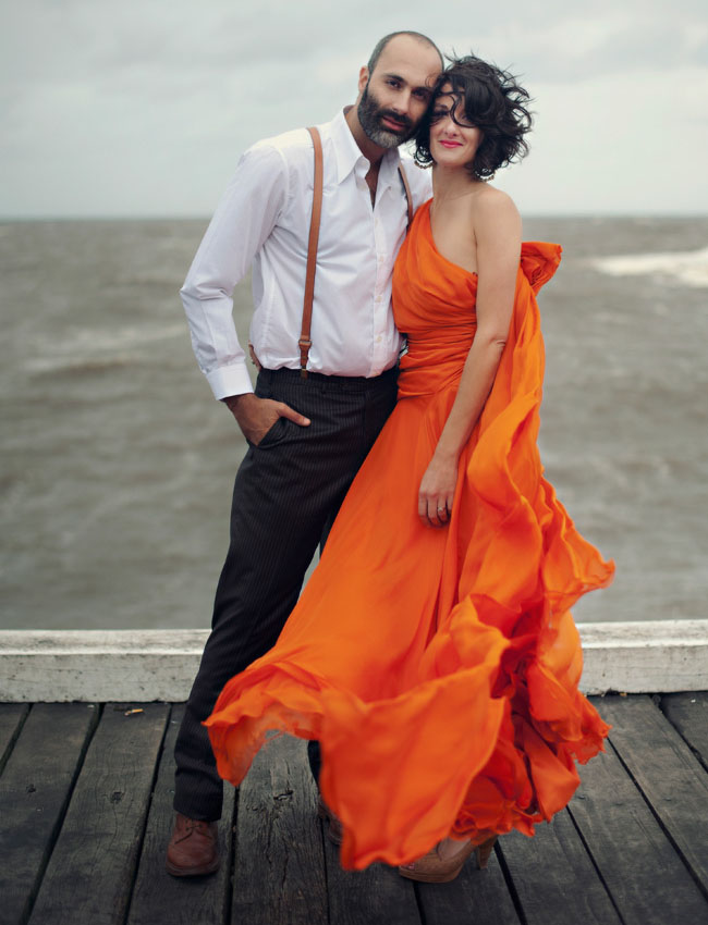 orange wedding dress ocean