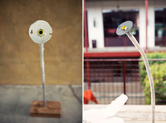 Diy giant flowers option 1 drill a 78 inch hole in a large piece of wood insert the bent conduit stem as seen below option 2 use buckets filled with gravel or sand to mightylinksfo