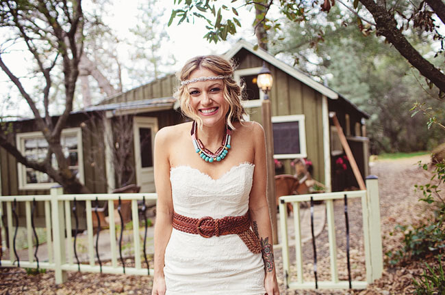 bride wearing belt and halo