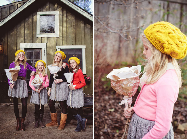 junior bridesmaids with giant paper flowers