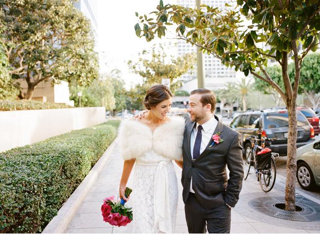 fur wrap bridal wear