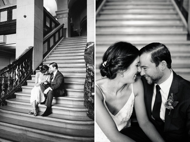 bride and groom staircase