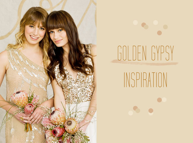 gold gypsy wedding inspiration