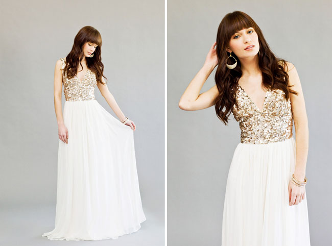 gold sequin top wedding dress