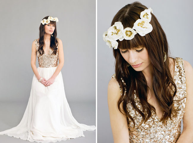gold and white flower halo