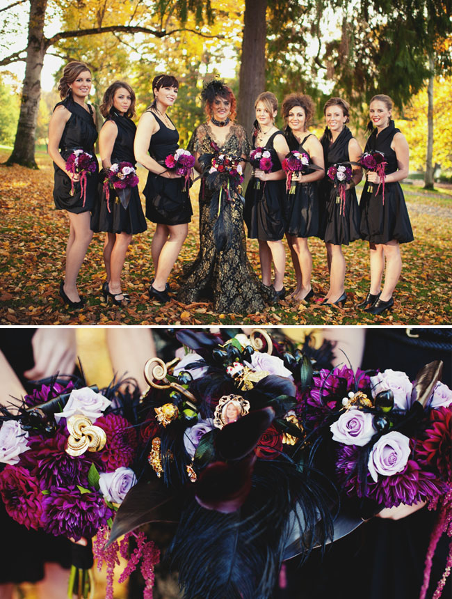 Halloween Wedding Flowers In Purples With Black Feathers Green