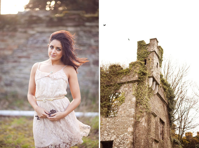 ireland castle engagement pink lace dress