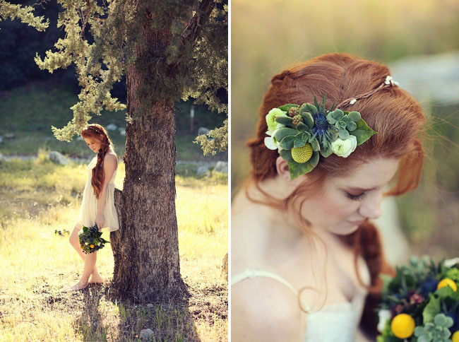 succulents in hair bride