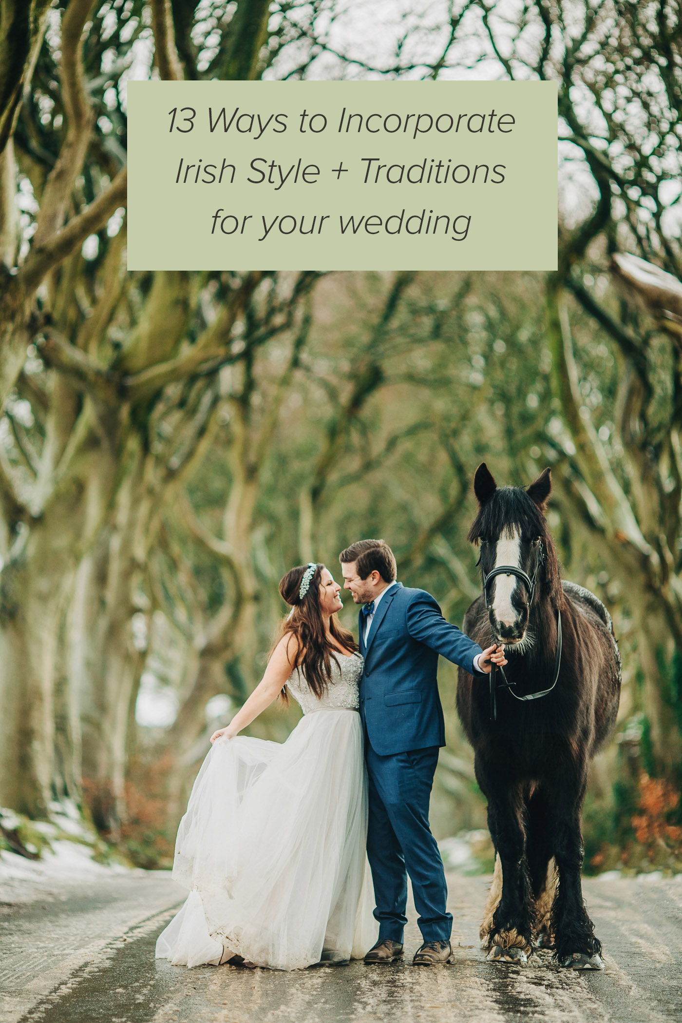 Irish traditions for your wedding with a bride and groom and horse in Ireland