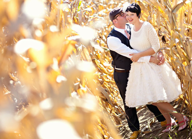couple in a corn field