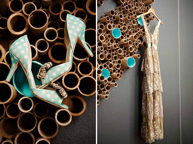 teal polka dot bridal shoes